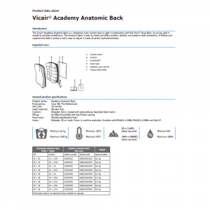 wheelchair back cushion Vicair Anatomic product data sheet