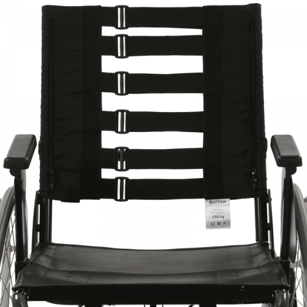 Vicair Strap Back on wheelchair front