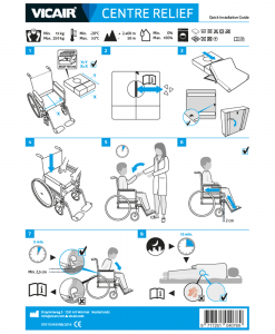 Vicair Centre Relief wheelchair cushion quick installation guide