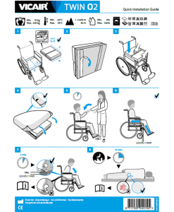Vicair Twin O2 wheelchair cushion quick installation guide